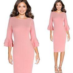 Elegant Flare 3/4 Sleeves Knee Length Pencil Dress