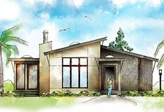 Plan No: Style: Modern, Contemporary Small Contemporary House Plans, Modern House Plans, Modern Houses, Modern Contemporary, Cottage House Plans, Cottage Homes, Architectural Design House Plans, Architecture Design, Building A Small House