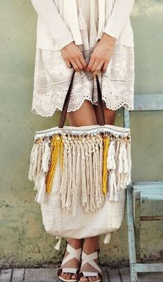 Canvas is the New Leather Among Bag Makers - Boho chic modern hippie purse with big gypsy inspired tassel fringe, perfect for a summer fashion s - Estilo Hippie, Hippie Chic, Hippie Style, Boho Chic, Modern Hippie, Bohemian Style, Ibiza Style, Diy Sac, Look Boho