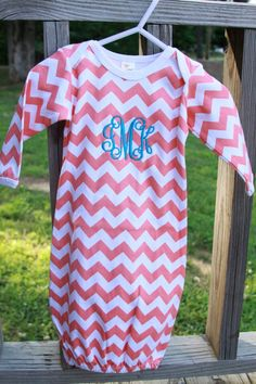 Monogrammed Chevron Baby Gown by KatesCornerBoutique on Etsy, $20.00