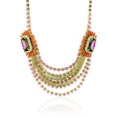 "Rodrigo Otazu ""DNA"" Layers of Rose Pink and Orange Floral Necklace: Jewelry: Amazon.com"