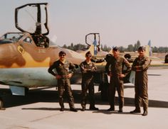 Pilots of the last flight of the Vampire in Chile on March, 21th 1980. Left to right: Lt. Nibaldo Jorquera D., 2nd Lt. Luis Elorza G., 2nd Lt. Carlos Bertens U. and Lt. Pedro Uhart R.