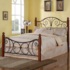 Iron Beds and Headboards Queen Wood with Metal Headboard & Footboard Bed with Swirl Design by Coaster - Underground Furniture - Headboard & Footboard San Diego, Pacific Beach, Mission Beach, La Jolla Headboards For Queen Beds, Bed Frame And Headboard, Diy Bed Frame, Wood Headboard, Bed Frames, Queen Headboard, Metal Headboards, Headboard Ideas, Black Queen Bed Frame