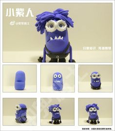Fab FIMO tutorial to make the purple minion. Minion en pâte Fimo