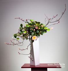 Flowering Spring Branches - Sogetsu arrangement with Only Branches #ikebana #生花 #いけばな #floralart #sogetsu #sogetsuikebana #草月 #生け花 #floraldesign #florist #floristry
