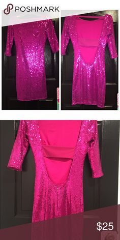 Hot pink sparkle dress BRAND NEW sparkle pink dress. Never been worn. Open back Dresses Mini