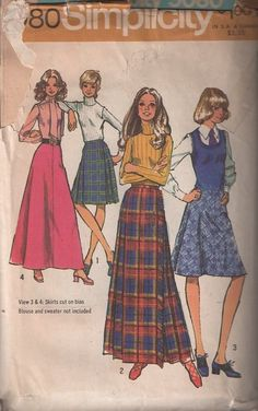 MOMSPatterns Vintage Sewing Patterns - Simplicity 5080 Vintage 70's Sewing Pattern GROOVY Mod Secretary Kilt Skirt with Fringe & Jumbo Safety Pin Trim, A-Line Flared, Evening Styles