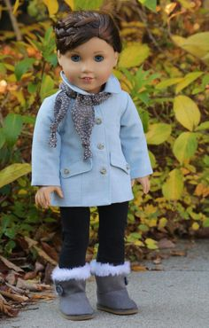 "American Girl Doll Clothes. ""Are We There Yet?"" Car Coat and Scarf fits 18 inch dolls"