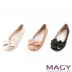 MAGY 甜美舒適 立體皮革蝴蝶結娃娃鞋-米色 - Yahoo!奇摩購物中心