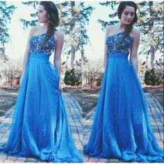 One Shoulder Prom Dresses,Lace Evening Dress,Chiffon Prom Dress,Royal Blue Blue Prom Dresses, Prom Gown,Elegant Prom Dress,New Fashion Evening Gowns For Teens
