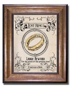 Lord of the Rings The One Ring Wanted Poster by MyChildishThings