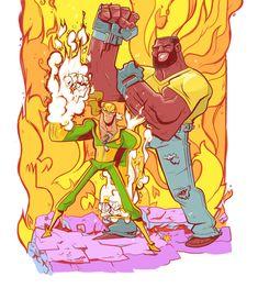 Iron Fist Marvel, Heroes For Hire, Power Man, Luke Cage, Marvel Legends, Cartoon Kids, Anime Style, Insta Art, Marvel Comics