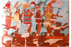 An ancient Mayan mural, on display at the Houston Museum of Natural Science Houston Museum, Cleveland Museum Of Art, Norman Mailer, Texas, Art Articles, Mesoamerican, Tribal Art, Science And Nature, Art Gallery