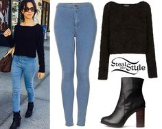 photo posted by Camila Cabello on instagram Camila Cabello posted a new instagram photo recently wearing a Topshop Knitted Fluffy Crop Jumper (sold out), a pair of Topshop MOTO Joni Jeans ($65.00) and the Black Heel Boots ($34.95) from H&M. You can get a similar sweater from Missguided ($34.18).