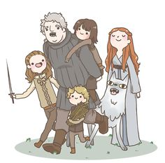 House Stark: Arya, Hodor, Bran, Rickon, Nymeria & Sansa. Game of Thrones doodle http://lilithcoop.tumblr.com/