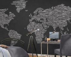 One World Wall Map Mural - White on Black http://www.worldmapsonline.com/one_world_mural_1340.htm#