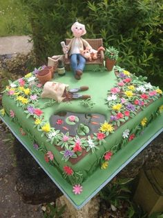 Garden cake - For all your cake decorating supplies, please .- Garden cake – For all your cake decorating supplies, please visit craftcompany.c… Garden cake – For all your cake decorating supplies, please visit craftcompany.c… – cake – - Crazy Cakes, Fancy Cakes, Cute Cakes, Pink Cakes, Pretty Cakes, Garden Birthday Cake, Dad Birthday Cakes, Birthday Cupcakes, Garden Theme Cake