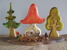 Mushroom House set wooden toy