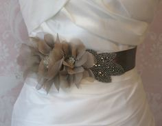 Pewter Bridal Sash, Gray Wedding Belt with Handmade Smokey Grey Quartz Organza Flowers - SMOKE