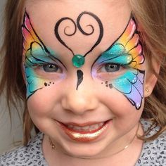 Face Painting Designs, Body Painting, Butterfly Makeup, Facial, Rainbow Butterfly, Face Art, Face And Body, Cute Kids, Crochet