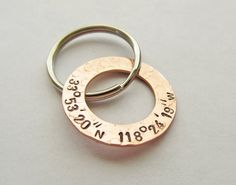 Personalized Key Chain with Longitude and by JewelryByRMSmith... Possible new daddy gift?