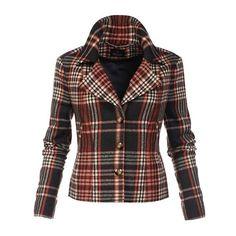 Blazer ($265) ❤ liked on Polyvore featuring outerwear, jackets, blazers, checkered jacket, short blazer jackets, long sleeve jacket, lapel jacket and long sleeve blazer