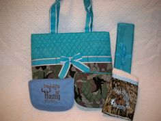 PERSONALIZED 5 Piece Camo Diaper Bag Set with by grinsandgigglesbaby1, $55.00 Camo Diaper Bags, Baby Boy Camo, Future Baby, Reusable Tote Bags, Babies, Awesome, Unique Jewelry, Handmade Gifts, Cute