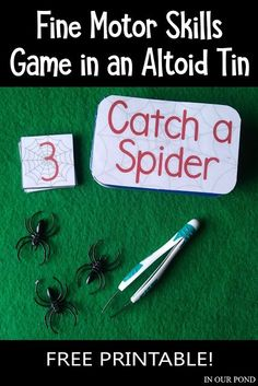 Fine motor game with a math component of counting and ordering numbers. Catch the spiders with tweezers and move them around. Fits in an Altoid tin! Airplane Activities, Travel Activities, Christmas Activities For Kids, Crafts For Kids, Activity Bags, Family Road Trips, Ordering Numbers, Halloween Themes, Fine Motor