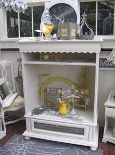 That looks great...white shabby chic cabinet