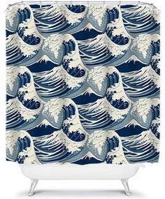 Cool Nautical Blue Waves Shower Curtain Ocean by xOnceUponADesignx
