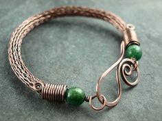 viking knit Armband, Kupfer antik, copper, Aventurin
