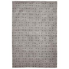 Hand-knotted wool rug in gray and ivory with a geometric motif.  Product: RugConstruction Material: Wool