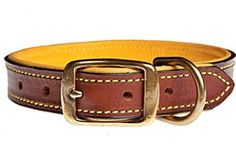 Amazon.com: Tasman's Natural Pet Bridle Tanned Bison Leather Dog Collar - Walnut, Gold Lined, 12in: Pet Supplies