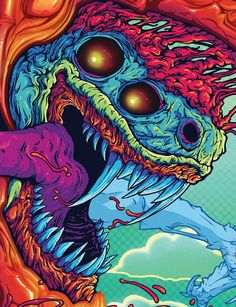Hyper Beast is a wild illustration by Brock Hofer to say the least. Brutally vibrant gore filled work right here at Creativitea.
