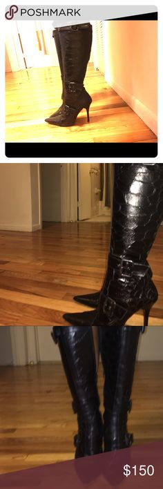 Charles David boots Black, crocodile texture, leather. Great condition worn twice. Had to get the calf area opened. Charles David Shoes Heeled Boots