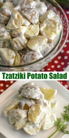 A delicious new spin on an ancient favorite we tossed tender boiled baby red potatoes in a homemade creamy cucumber yogurt Tzatziki sauce for an amazing new side dish Thi. Potato Dishes, Potato Recipes, Food Dishes, Gourmet Recipes, Vegetarian Recipes, Cooking Recipes, Healthy Recipes, Healthy Desserts, Salad Recipes