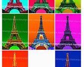 Eiffel Tower Pop Art a la Andy Warhol Psychedelic Altered Art Colors Colours ATC ACEO Decoupage French Paris Tour Eiffel Digital Collage 314