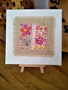 Handmade canvas picture made with Moda fabrics, linen, lace & a buttton