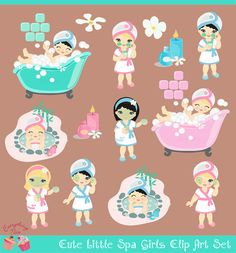 Items similar to Cute little SPA Girls Blonde Black hair Clip Art Set on Etsy Spa Birthday Parties, Happy Birthday, Spa Party Cakes, Foto Banner, Nail Salon And Spa, Black Hair Clips, Mini Spa, Blue Lips, Mickey Mouse Clubhouse