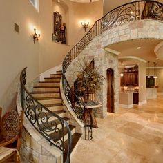 Mediterranean Staircase by Gary Keith Jackson Design Inc