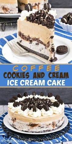 Coffee Cookies and Cream Ice Cream Cake – a cookie crust with two layers of ice cream and a hot fudge cookie center makes an easy but impressive dessert. Try this easy recipe for all your summer parties! Ice Cream Desserts, Frozen Desserts, Ice Cream Recipes, Ice Cream Pies, Summer Desserts, Icecream Cake Recipes, Frozen Treats, Diy Ice Cream Cake, Sweet Like Candy