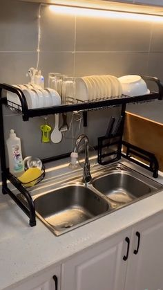 "Black stainless steel kitchen stand sink sink sink drain bowl rack crockery basket kitchenwareAdbiu """" stainless steel black dish dryer over kitchen sink-all in one kitchen space saver & washing dishes solution black stainless Kitchen Room Design, Modern Kitchen Design, Home Decor Kitchen, Interior Design Kitchen, Kitchen Furniture, Kitchen Ideas, Small Kitchen Decorating Ideas, Small Apartment Kitchen, Simple Interior"