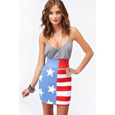 Stars & Stripes Skirt ($60) ❤ liked on Polyvore