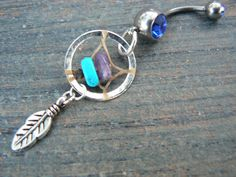 dreamcatcher belly ring turquoise and amethyst by gildedingypsy, $17.50