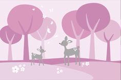 Deer in the woods - pink (photowall)