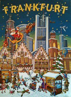 Christmas Market Poster of Frankfurt - re-pinned by www.mybestgermanrecipes.com