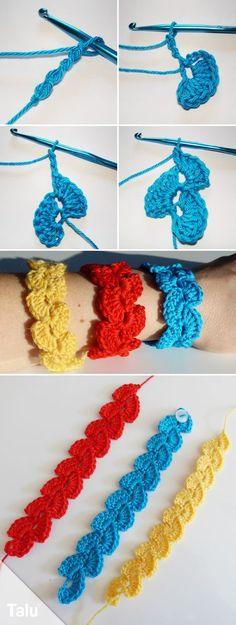 Gehäkeltes Armband - einfach und schnell | Pinterest | Armbänder ...