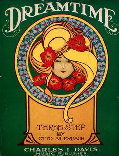Dreamtime vintage Art Nouveau sheet music