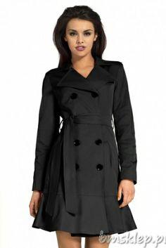 Dwurzędowy czarny #płaszcz z paskiem Double-breasted black #coat with belt