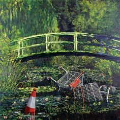 """This artwork by Banksy, """"Show Me the Monet"""", is a modification of Monet's painting. It is a juxtaposition of nature and mankind. The shopping carts and the cone represent the increasing amount of pollution and litter in the world, and by depicting them in the river, it illustrates the damage inflicted onto nature as human beings become more detached from nature and more dependent on factories and advanced technology."""